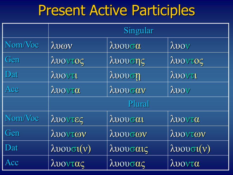 Present Active Participles Singular Nom/Vocλυων λυουσα λυον Gen λυοντος λυουσης λυοντος Dat λυοντι λυουσ ῃ λυοντι Acc λυοντα λυουσαν λυον Plural Nom/V