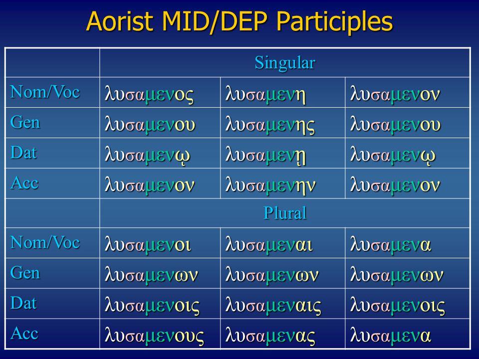 Aorist MID/DEP Participles Singular Nom/Voc λυ σα μενος λυ σα μενη λυ σα μενον Gen λυ σα μενου λυ σα μενης λυ σα μενου Dat λυ σα μεν ῳ λυ σα μεν ῃ λυ