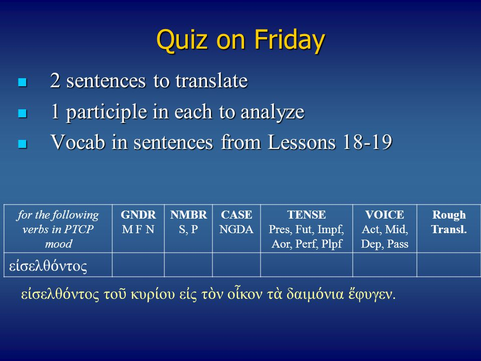 Quiz on Friday 2 sentences to translate 2 sentences to translate 1 participle in each to analyze 1 participle in each to analyze Vocab in sentences fr