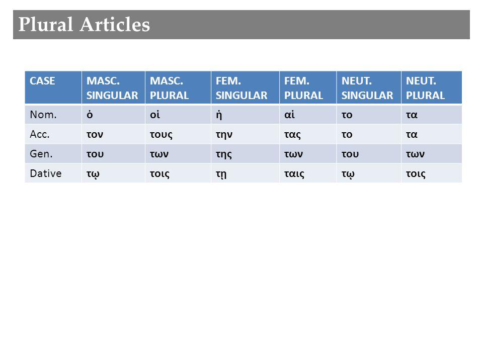 Plural Articles CASEMASC.FEM.NEUT. Nom.ὁἡτο Acc.τοντηντο Gen.τουτηςτου Dativeτῳτῃτῳ MASC.