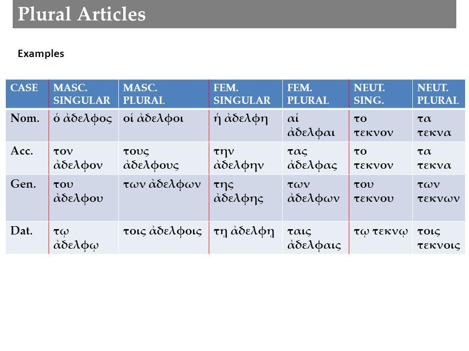 Plural Articles CASEMASC. SINGULAR MASC. PLURAL FEM.