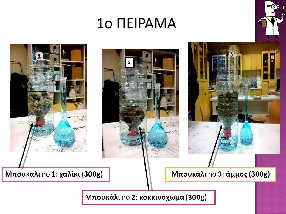 Μπουκάλι no 1: χαλίκι (300g) Μπουκάλι no 2: κοκκινόχωμα (300g) Μπουκάλι no 3: άμμος (300g) 2 1ο ΠΕΙΡΑΜΑ
