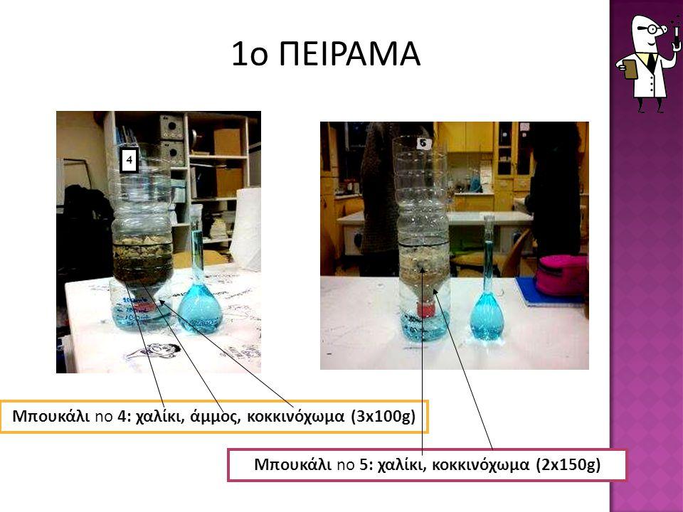 Μπουκάλι no 4: χαλίκι, άμμος, κοκκινόχωμα (3x100g ) Μπουκάλι no 5: χαλίκι, κοκκινόχωμα (2x150g) 4 1ο ΠΕΙΡΑΜΑ