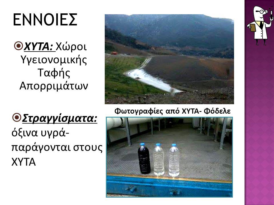 ΧΥΤΑ: Χώροι Υγειονομικής Ταφής Απορριμάτων  Στραγγίσματα: όξινα υγρά- παράγονται στους ΧΥΤΑ Φωτογραφίες από ΧΥΤΑ- Φόδελε ΕΝΝΟΙΕΣ