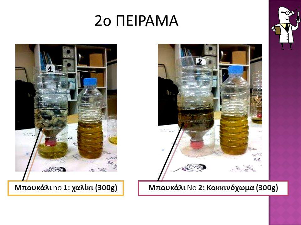 Μπουκάλι no 1: χαλίκι (300g)Μπουκάλι Νο 2: Κοκκινόχωμα (300g) 2ο ΠΕΙΡΑΜΑ