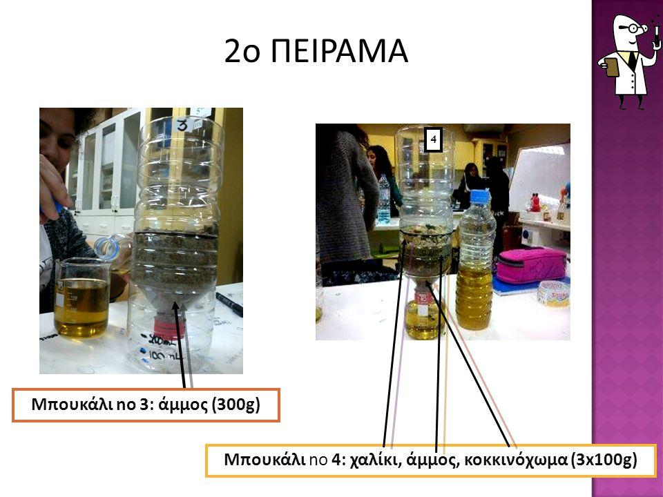 Μπουκάλι no 4: χαλίκι, άμμος, κοκκινόχωμα (3x100g) 4 Μπουκάλι no 3: άμμος (300g) 2ο ΠΕΙΡΑΜΑ