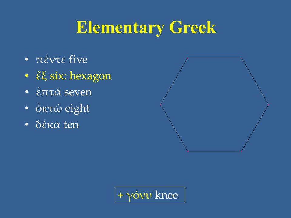 Elementary Greek πέντε five ἕξ six: hexagon ἑπτά seven ὀκτώ eight δέκα ten + γόνυ knee