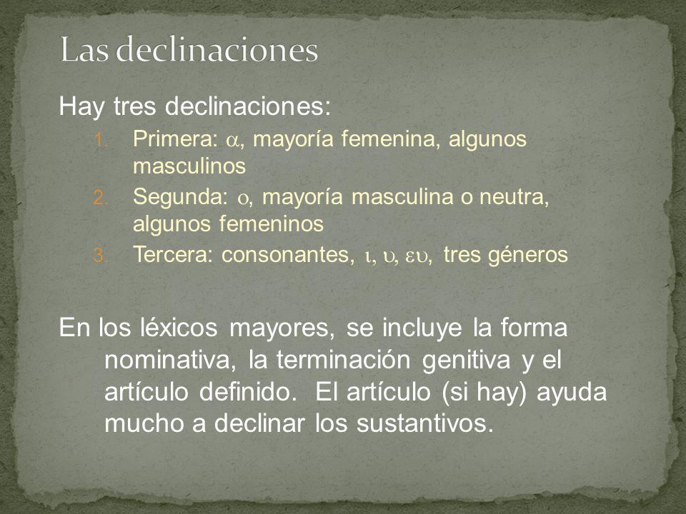 GREEK NOUN DECLENSIONS 2 nd Declension (- ο Stems) Masculine Examples: ( λόγος ) Singular NOMINATIVE GEN./ABL.
