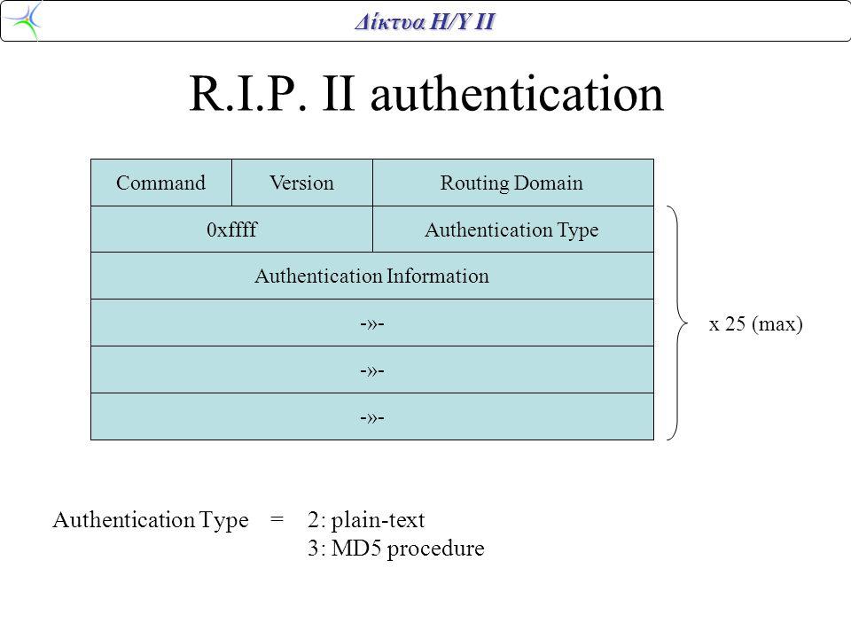 Δίκτυα Η/Υ ΙΙ R.I.P. II authentication Authentication Type = 2: plain-text 3: MD5 procedure CommandVersionRouting Domain 0xffffAuthentication Type Aut