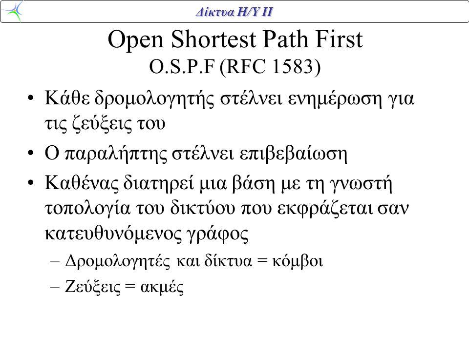Δίκτυα Η/Υ ΙΙ Open Shortest Path First O.S.P.F (RFC 1583) Κάθε δρομολογητής στέλνει ενημέρωση για τις ζεύξεις του Ο παραλήπτης στέλνει επιβεβαίωση Καθ