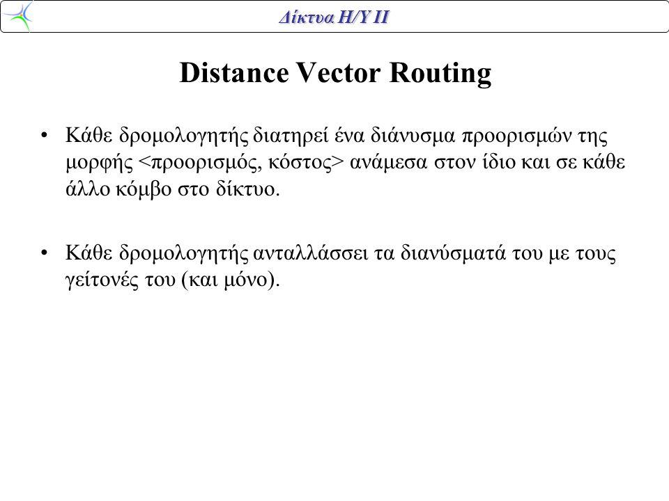 Δίκτυα Η/Υ ΙΙ Distance Vector Routing Κάθε δρομολογητής διατηρεί ένα διάνυσμα προορισμών της μορφής ανάμεσα στον ίδιο και σε κάθε άλλο κόμβο στο δίκτυ