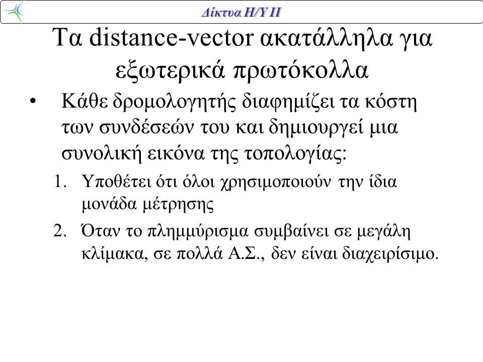Δίκτυα Η/Υ ΙΙ Τα distance-vector ακατάλληλα για εξωτερικά πρωτόκολλα Κάθε δρομολογητής διαφημίζει τα κόστη των συνδέσεών του και δημιουργεί μια συνολι