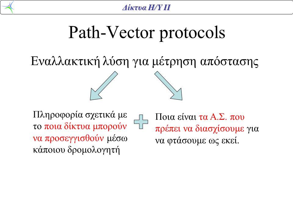 Δίκτυα Η/Υ ΙΙ Path-Vector protocols Εναλλακτική λύση για μέτρηση απόστασης Πληροφορία σχετικά με το ποια δίκτυα μπορούν να προσεγγισθούν μέσω κάποιου