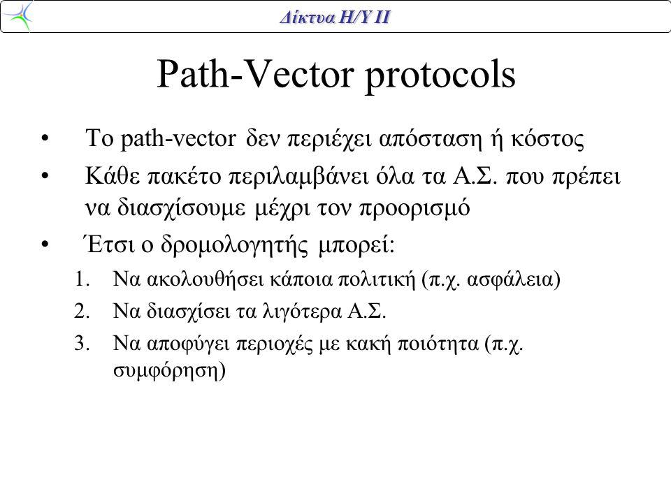 Δίκτυα Η/Υ ΙΙ Path-Vector protocols To path-vector δεν περιέχει απόσταση ή κόστος Κάθε πακέτο περιλαμβάνει όλα τα Α.Σ. που πρέπει να διασχίσουμε μέχρι