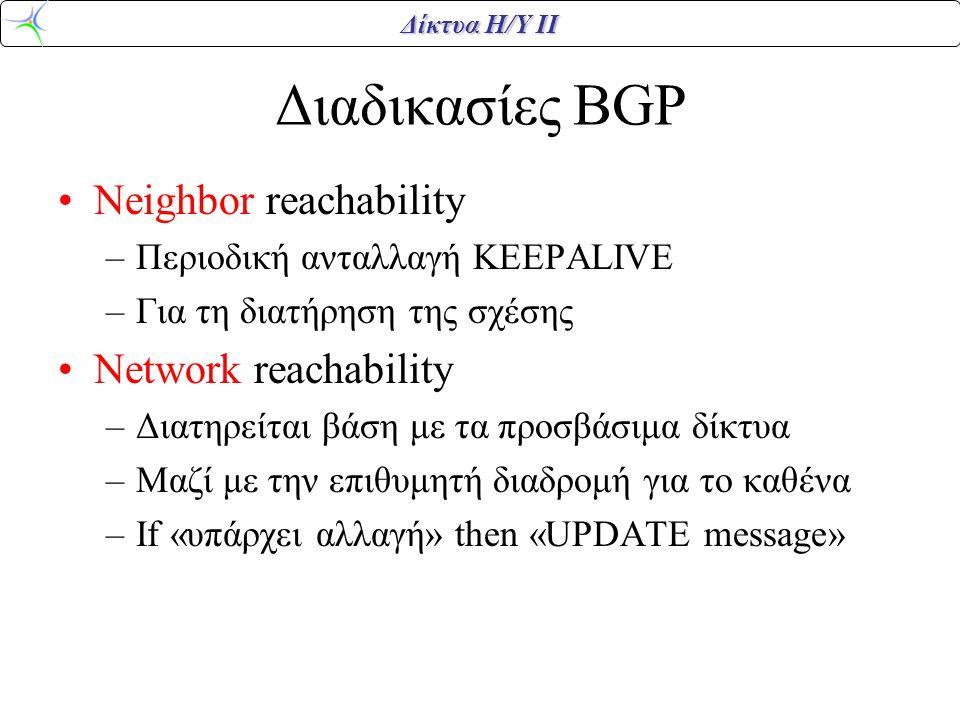 Δίκτυα Η/Υ ΙΙ Διαδικασίες BGP Neighbor reachability –Περιοδική ανταλλαγή KEEPALIVE –Για τη διατήρηση της σχέσης Network reachability –Διατηρείται βάση