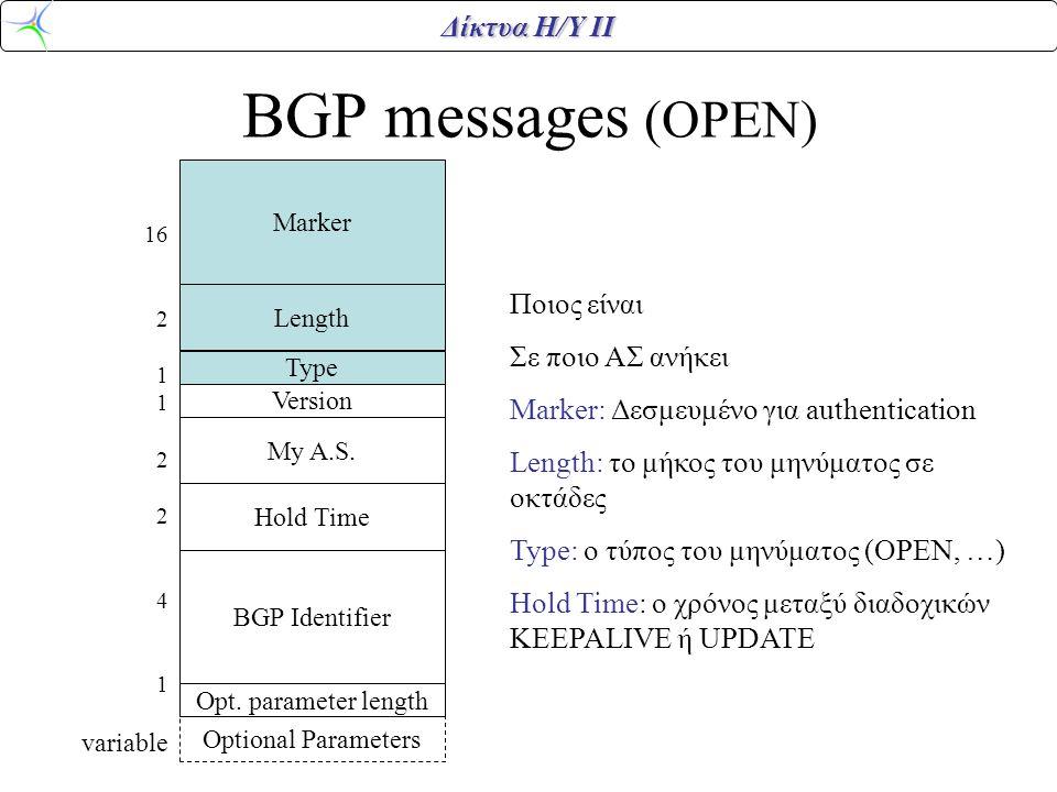 Δίκτυα Η/Υ ΙΙ BGP messages (OPEN) Marker Length Version Type My A.S. Hold Time BGP Identifier Opt. parameter length Optional Parameters 16 2 1 2 4 1 v