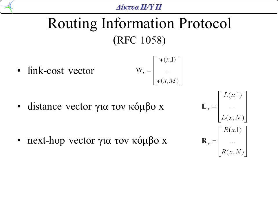 Δίκτυα Η/Υ ΙΙ Routing Information Protocol ( RFC 1058) link-cost vector distance vector για τον κόμβο x next-hop vector για τον κόμβο x