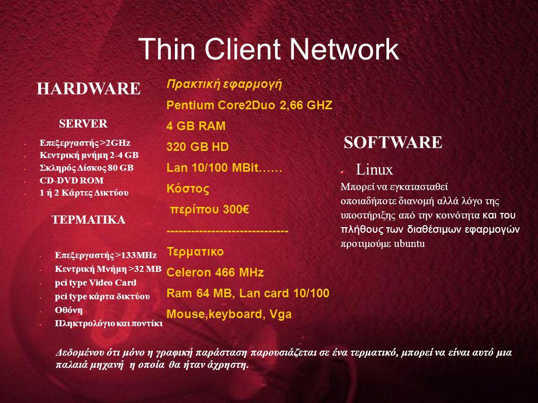 Τhin Client Network Επεξεργαστής >2GHz Κεντρική μνήμη 2-4 GB Σκληρός Δίσκος 80 GB CD-DVD ROM 1 ή 2 Κάρτες Δικτύου Linux Mπορεί να εγκατασταθεί οποιαδήποτε διανομή αλλά λόγο της υποστήριξης από την κοινότητα και του πλήθους των διαθέσιμων εφαρμογών προτιμούμε ubuntu SOFTWARE HARDWARE SERVER TEΡΜΑΤΙΚΑ Επεξεργαστής >133ΜHz Κεντρική Μνήμη >32 ΜΒ pci type Video Card pci type κάρτα δικτύου Οθόνη Πληκτρολόγιο και ποντίκι Δεδομένου ότι μόνο η γραφική παράσταση παρουσιάζεται σε ένα τερματικό, μπορεί να είναι αυτό μια παλαιά μηχανή η οποία θα ήταν άχρηστη.
