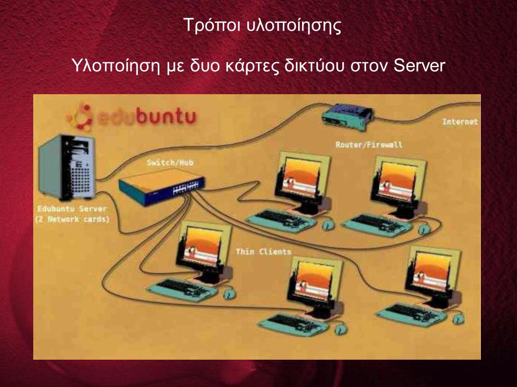Υλοποίηση με δυο κάρτες δικτύου στον Server Τρόποι υλοποίησης