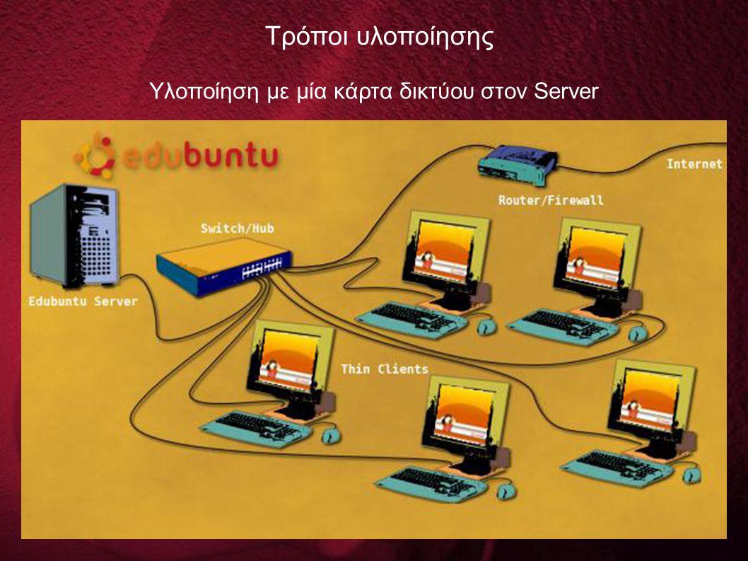 Υλοποίηση με μία κάρτα δικτύου στον Server Τρόποι υλοποίησης