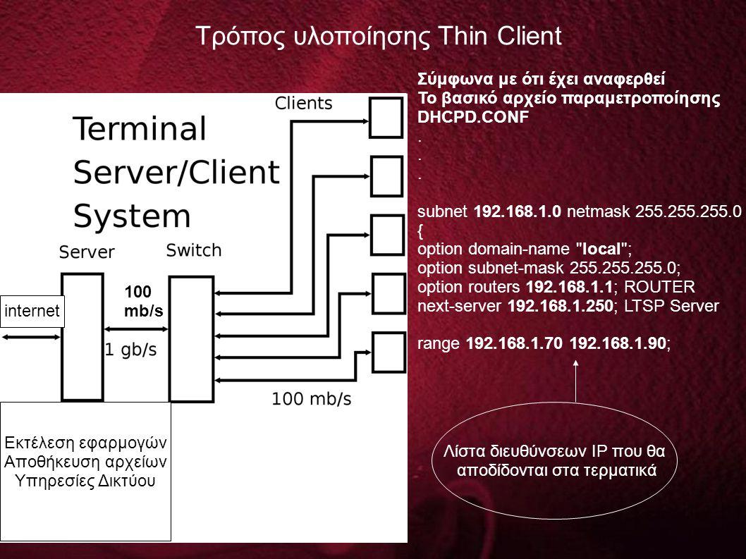 Τρόπος υλοποίησης Thin Client 100 mb/s Εκτέλεση εφαρμογών Αποθήκευση αρχείων Υπηρεσίες Δικτύου internet Σύμφωνα με ότι έχει αναφερθεί Το βασικό αρχείο παραμετροποίησης DHCPD.CONF.