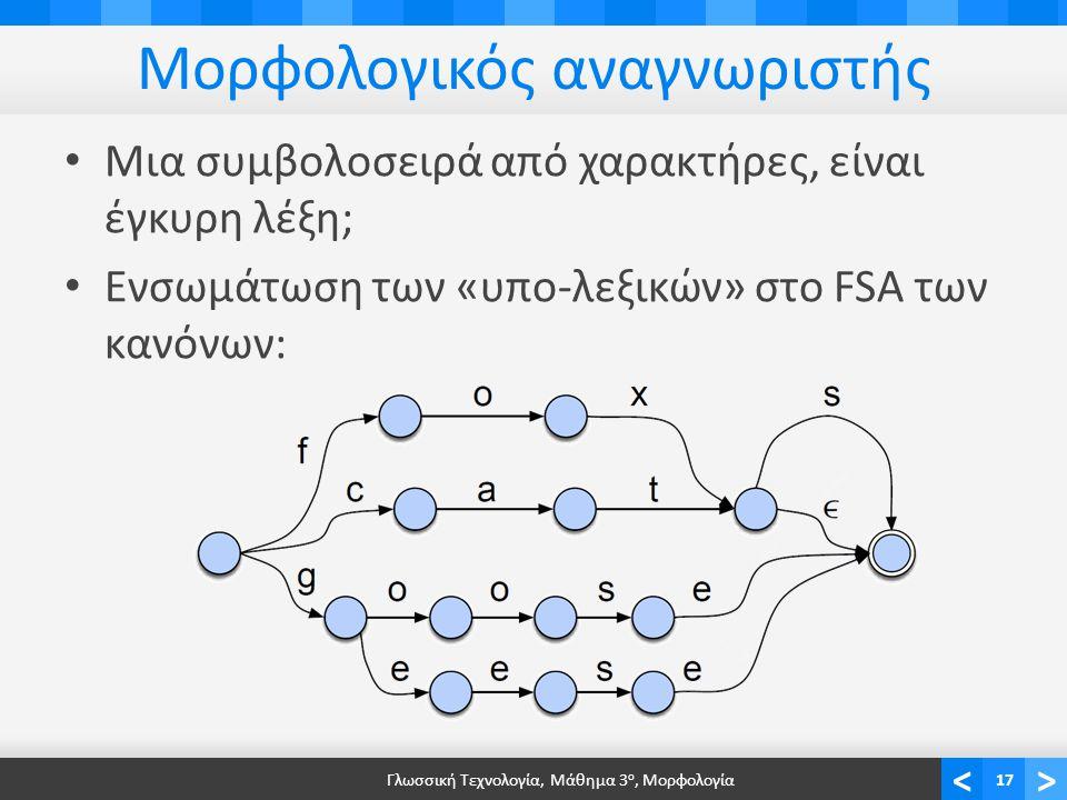 <> Μορφολογικός αναγνωριστής Μια συμβολοσειρά από χαρακτήρες, είναι έγκυρη λέξη; Ενσωμάτωση των «υπο-λεξικών» στο FSA των κανόνων: Γλωσσική Τεχνολογία, Μάθημα 3 ο, Μορφολογία17