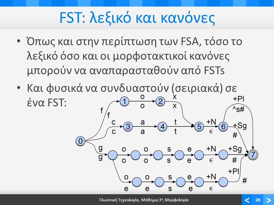 <> FST: λεξικό και κανόνες Όπως και στην περίπτωση των FSA, τόσο το λεξικό όσο και οι μορφοτακτικοί κανόνες μπορούν να αναπαρασταθούν από FSTs Και φυσικά να συνδυαστούν (σειριακά) σε ένα FST: Γλωσσική Τεχνολογία, Μάθημα 3 ο, Μορφολογία20