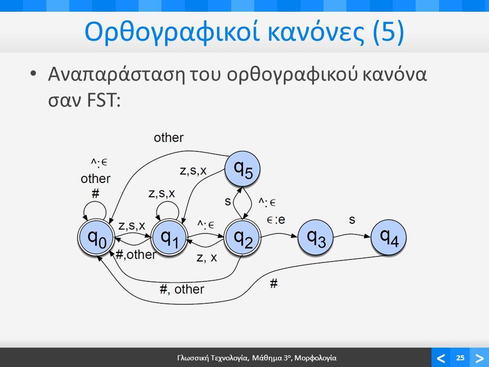 <> Ορθογραφικοί κανόνες (5) Αναπαράσταση του ορθογραφικού κανόνα σαν FST: Γλωσσική Τεχνολογία, Μάθημα 3 ο, Μορφολογία25