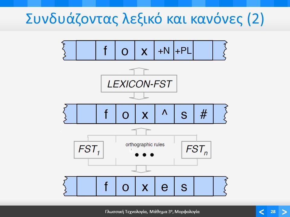 <> Συνδυάζοντας λεξικό και κανόνες (2) Γλωσσική Τεχνολογία, Μάθημα 3 ο, Μορφολογία28