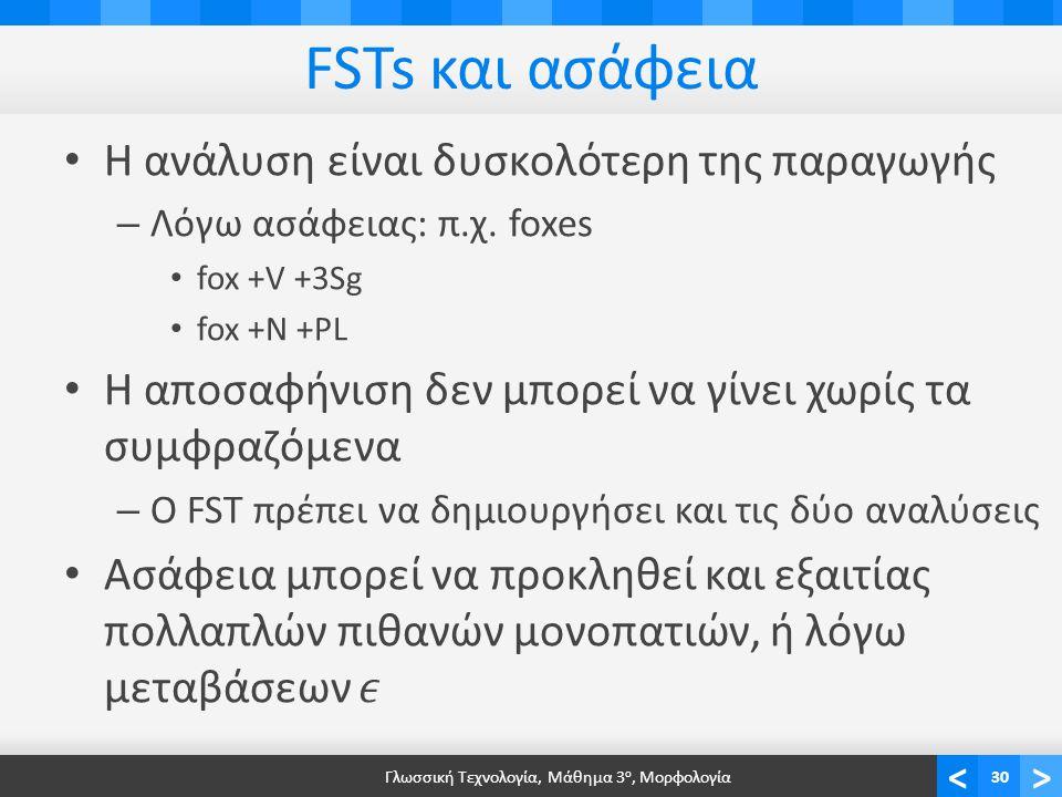 <> FSTs και ασάφεια Γλωσσική Τεχνολογία, Μάθημα 3 ο, Μορφολογία30