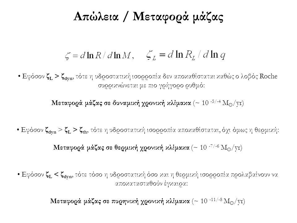 Απώλεια / Μεταφορά μάζας Εφόσον ζ L > ζ dyn, τότε η υδροστατική ισορροπία δεν αποκαθίσταται καθώς ο λοβός Roche συρρικνώνεται με πιο γρήγορο ρυθμό: Με