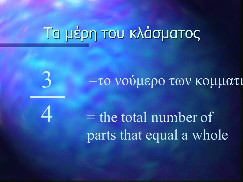 Τα μέρη του κλάσματος 3 4 =το νούμερο των κομματιών = the total number of parts that equal a whole