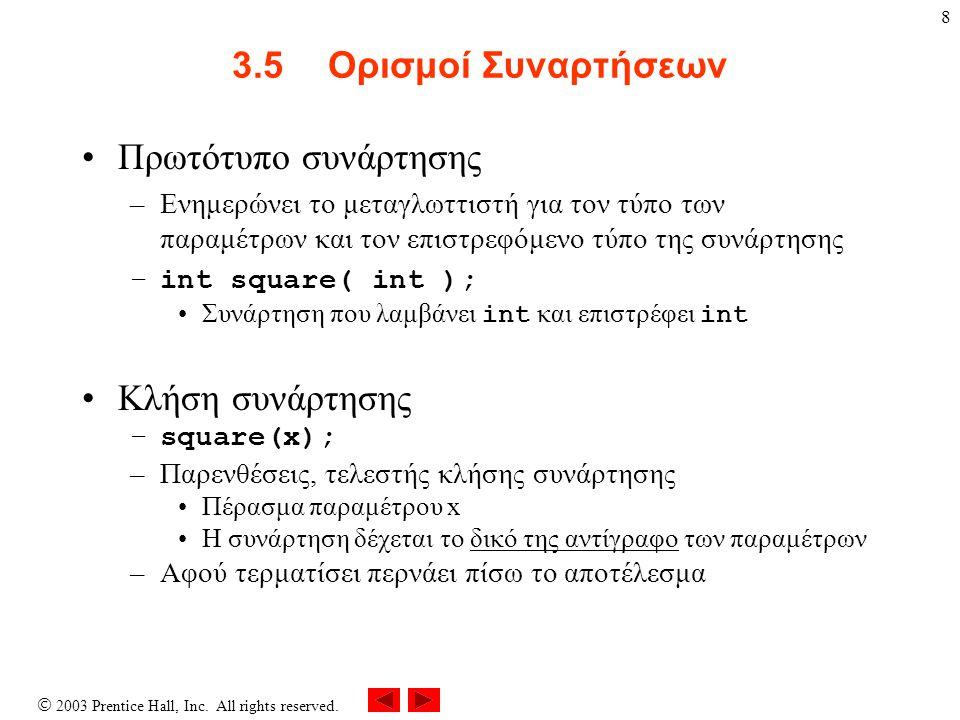 8 3.5Ορισμοί Συναρτήσεων Πρωτότυπο συνάρτησης –Ενημερώνει το μεταγλωττιστή για τον τύπο των παραμέτρων και τον επιστρεφόμενο τύπο της συνάρτησης –int square( int ); Συνάρτηση που λαμβάνει int και επιστρέφει int Κλήση συνάρτησης –square(x); –Παρενθέσεις, τελεστής κλήσης συνάρτησης Πέρασμα παραμέτρου x Η συνάρτηση δέχεται το δικό της αντίγραφο των παραμέτρων –Αφού τερματίσει περνάει πίσω το αποτέλεσμα