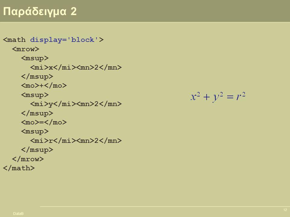 DalaB 12 Παράδειγμα 2 x 2 + y 2 = r 2