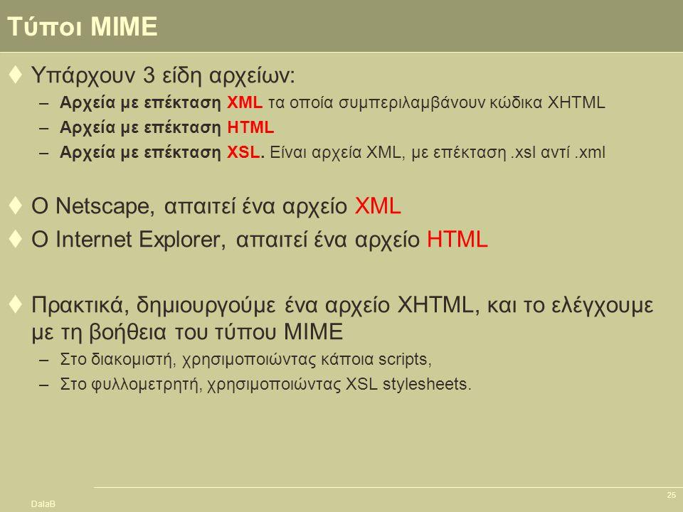 DalaB 25 Τύποι MIME  Υπάρχουν 3 είδη αρχείων: –Αρχεία με επέκταση XML τα οποία συμπεριλαμβάνουν κώδικα XHTML –Αρχεία με επέκταση HTML –Αρχεία με επέκ
