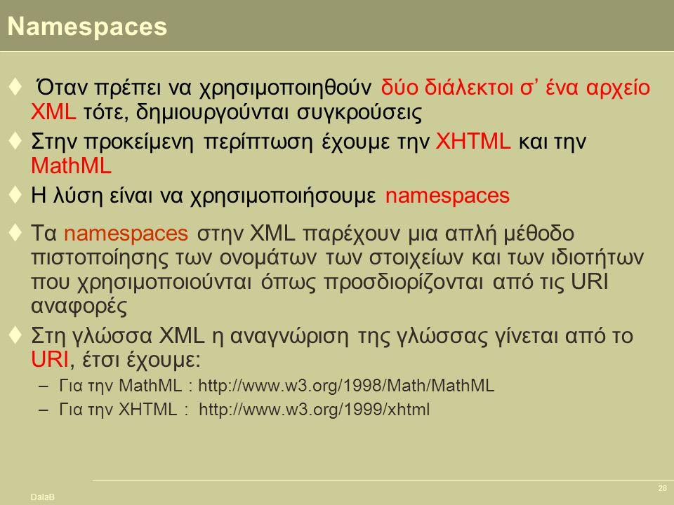 DalaB 28 Namespaces  Όταν πρέπει να χρησιμοποιηθούν δύο διάλεκτοι σ' ένα αρχείο XML τότε, δημιουργούνται συγκρούσεις  Στην προκείμενη περίπτωση έχου