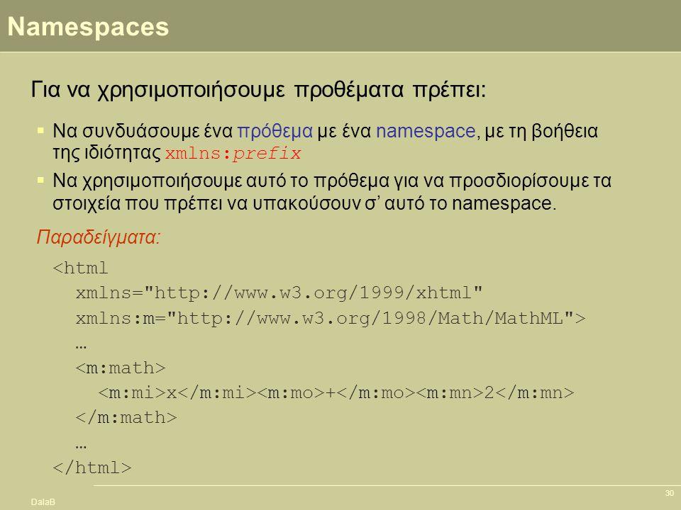 DalaB 30 Namespaces <html xmlns=