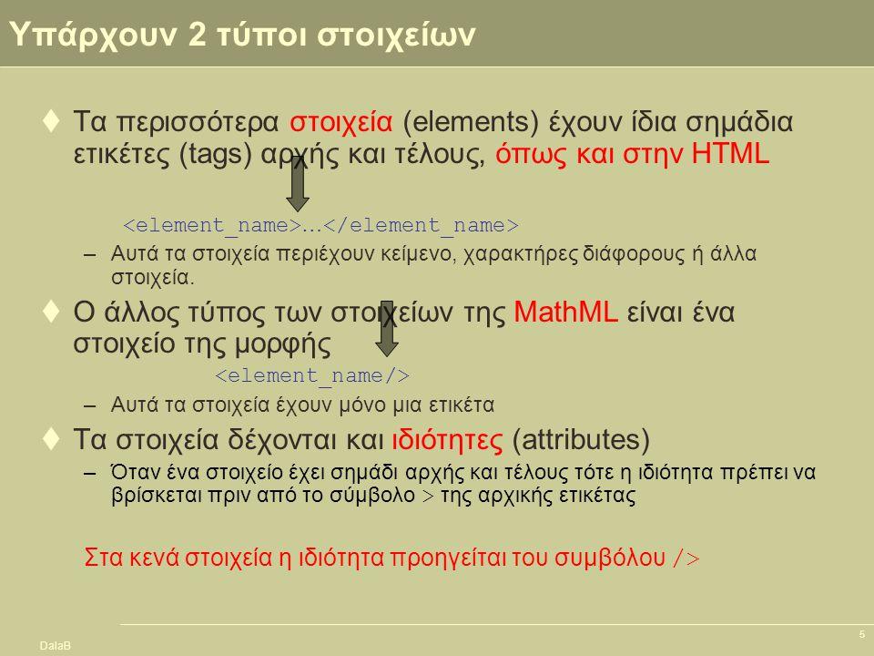 DalaB 5 Υπάρχουν 2 τύποι στοιχείων  Τα περισσότερα στοιχεία (elements) έχουν ίδια σημάδια ετικέτες (tags) αρχής και τέλους, όπως και στην ΗTML … –Αυτ