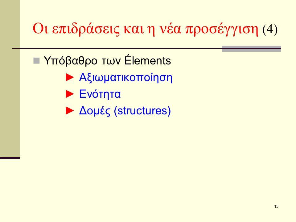 15 Οι επιδράσεις και η νέα προσέγγιση (4) Υπόβαθρο των Élements ► Αξιωματικοποίηση ► Ενότητα ► Δομές (structures)