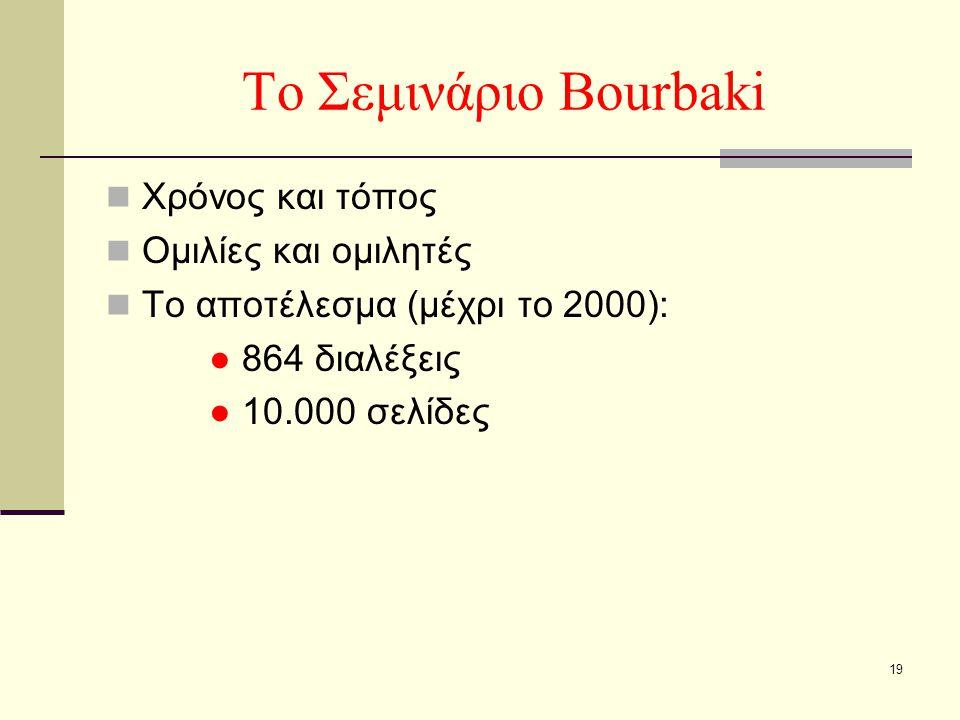 19 Το Σεμινάριο Bourbaki Χρόνος και τόπος Ομιλίες και ομιλητές Το αποτέλεσμα (μέχρι το 2000): ● 864 διαλέξεις ● 10.000 σελίδες