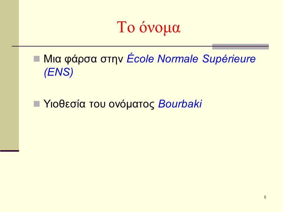 6 Το όνομα Μια φάρσα στην École Normale Supérieure (ENS) Υιοθεσία του ονόματος Bourbaki