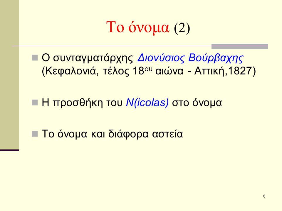8 Το όνομα (2) Ο συνταγματάρχης Διονύσιος Βούρβαχης (Κεφαλονιά, τέλος 18 ου αιώνα - Αττική,1827) Η προσθήκη του N(icolas) στο όνομα Το όνομα και διάφο