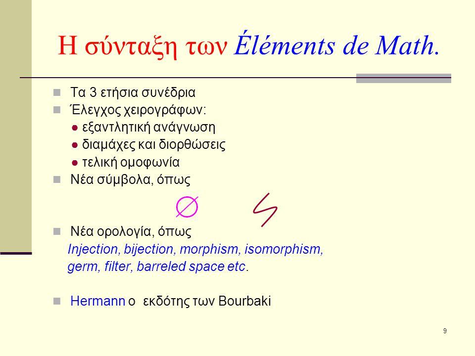 9 Η σύνταξη των Éléments de Math. Τα 3 ετήσια συνέδρια Έλεγχος χειρογράφων: ● εξαντλητική ανάγνωση ● διαμάχες και διορθώσεις ● τελική ομοφωνία Νέα σύμ