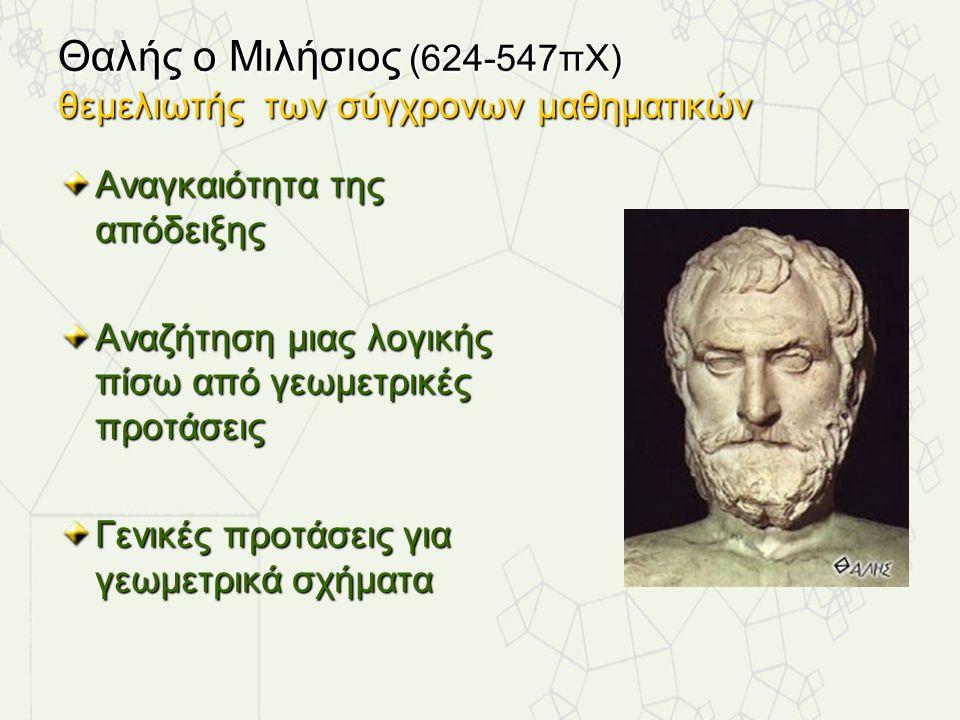 Θαλής ο Μιλήσιος (624-547πΧ) θεμελιωτής των σύγχρονων μαθηματικών Αναγκαιότητα της απόδειξης Αναζήτηση μιας λογικής πίσω από γεωμετρικές προτάσεις Γεν