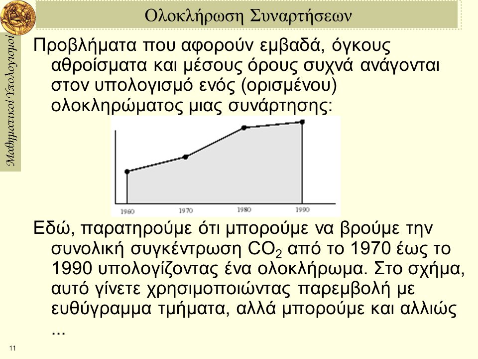 Μαθηματικοί Υπολογισμοί 11 Ολοκλήρωση Συναρτήσεων Προβλήματα που αφορούν εμβαδά, όγκους αθροίσματα και μέσους όρους συχνά ανάγονται στον υπολογισμό ενός (ορισμένου) ολοκληρώματος μιας συνάρτησης: Εδώ, παρατηρούμε ότι μπορούμε να βρούμε την συνολική συγκέντρωση CO 2 από το 1970 έως το 1990 υπολογίζοντας ένα ολοκλήρωμα.