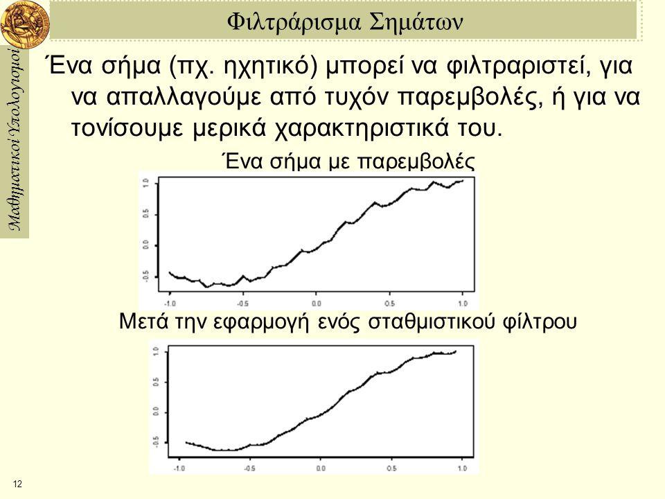Μαθηματικοί Υπολογισμοί 12 Φιλτράρισμα Σημάτων Ένα σήμα (πχ.