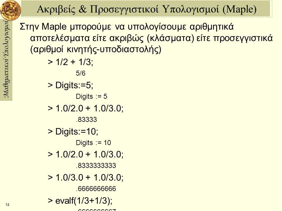 Μαθηματικοί Υπολογισμοί 14 Ακριβείς & Προσεγγιστικοί Υπολογισμοί (Maple) Στην Maple μπορούμε να υπολογίσουμε αριθμητικά αποτελέσματα είτε ακριβώς (κλάσματα) είτε προσεγγιστικά (αριθμοί κινητής-υποδιαστολής) > 1/2 + 1/3; 5/6 > Digits:=5; Digits := 5 > 1.0/2.0 + 1.0/3.0;.83333 > Digits:=10; Digits := 10 > 1.0/2.0 + 1.0/3.0;.8333333333 > 1.0/3.0 + 1.0/3.0;.6666666666 > evalf(1/3+1/3);.6666666667