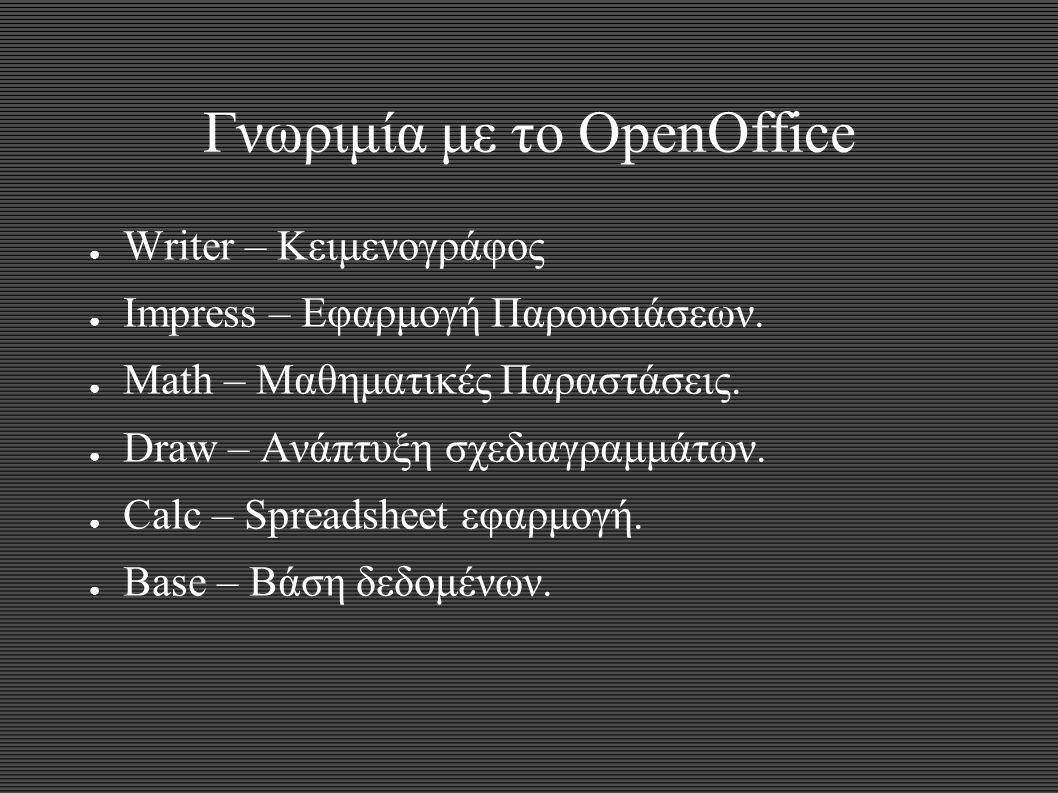 Γνωριμία με το OpenOffice ● Writer – Κειμενογράφος ● Impress – Εφαρμογή Παρουσιάσεων. ● Math – Μαθηματικές Παραστάσεις. ● Draw – Ανάπτυξη σχεδιαγραμμά