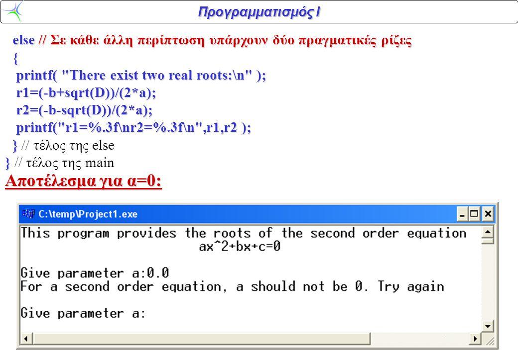 Προγραμματισμός Ι else // Σε κάθε άλλη περίπτωση υπάρχουν δύο πραγματικές ρίζες else // Σε κάθε άλλη περίπτωση υπάρχουν δύο πραγματικές ρίζες { printf( There exist two real roots:\n ); printf( There exist two real roots:\n ); r1=(-b+sqrt(D))/(2*a); r1=(-b+sqrt(D))/(2*a); r2=(-b-sqrt(D))/(2*a); r2=(-b-sqrt(D))/(2*a); printf( r1=%.3f\nr2=%.3f\n ,r1,r2 ); printf( r1=%.3f\nr2=%.3f\n ,r1,r2 ); } } // τέλος της else } } // τέλος της main Αποτέλεσμα για α=0: