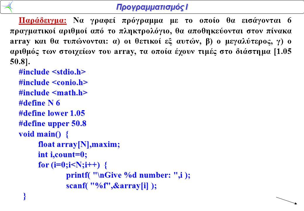 Προγραμματισμός Ι maxim=array[0]; printf( \n ); for (i=0;i<N;i++) // i=0 για να μπουν όλα σε ένα βρόχο, // μόνο για το μέγιστο θα ήταν i=1 // μόνο για το μέγιστο θα ήταν i=1{ if (array[i]==fabs(array[i])) printf( array[%d]>0: %f\n ,i,array[i] ); if (array[i]==fabs(array[i])) printf( array[%d]>0: %f\n ,i,array[i] ); if (array[i]>maxim) maxim=array[i]; if (array[i]>maxim) maxim=array[i]; if ((array[i]>=lower) && (array[i] =lower) && (array[i]<=upper)) count++;} printf( Maximum=%f\n ,maxim ); printf( Numbers within [lower,upper]: %d\n ,count ); }